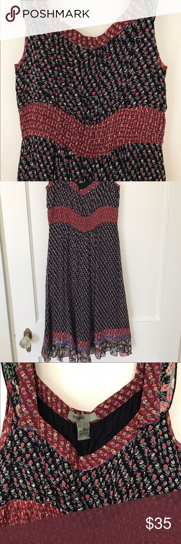 Anthropologie - Floral Summer Dress Women's XS floral summer dress bought at Anthropologie, 100% Viscose, machine washable, Made in India. Hits just below the knee. Dark navy blue lining underneath. Like new, never worn. Questions, comments let me know. Anthropologie Dresses Midi