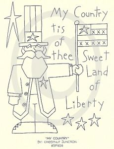 Free Primitive Embroidery Patterns   larger image my country epattern $ 1 99 8 x