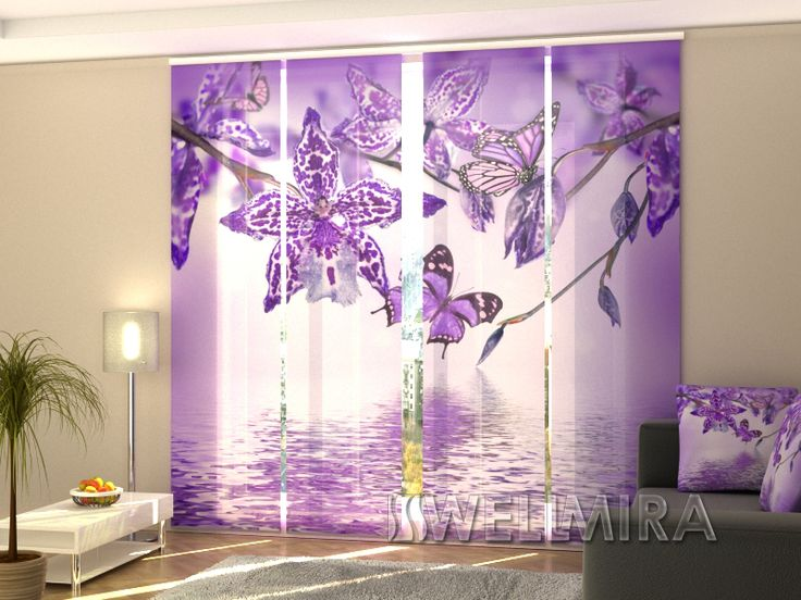 Vintage Set of Panel Curtains Violet Orchid Wellmira ModernCurtains PanelCurtains Curtains