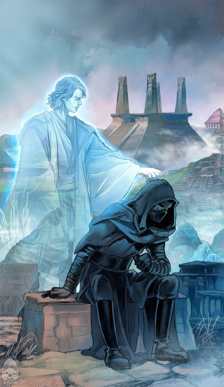 Anakin is making sure Kylo Ren knows Darth Vader became the good guy in the end and also is making sure his grandson is not really a kid under the mask throwing tantrums.