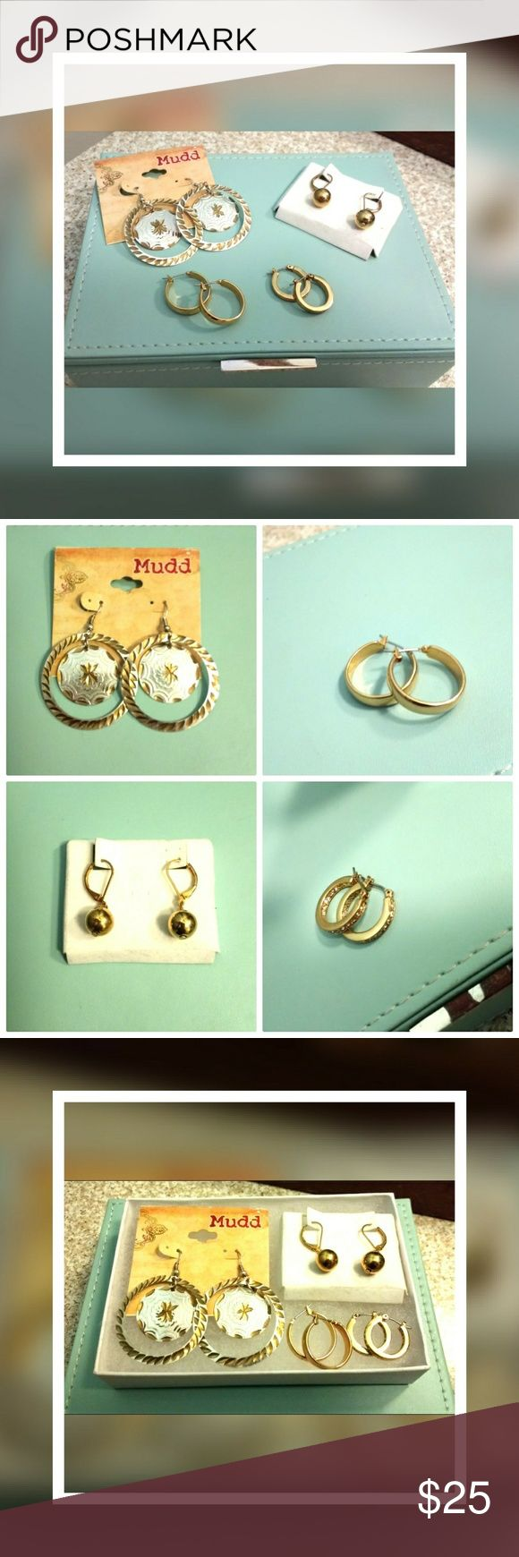Gold-tone Earring Bundle *NWT Mix of Gold tone earrings!   Arizona Mudd chandelier (NWT): -6 cm long & 4 cm wide  Ball Drop earrings (NWT): - 3 cm long  Simply Chic mini hoops (NWOT): -wide silhouette, 2 cm wide  Dazzling Mini hoops (NWOT): -mini hoops w/ crystals set pave' style, 1.5 cm wide  ALL OF THE EARRINGS ARE FOR PIERCED EARS THEY ARE ALL GOLD-TONE (meaning they are not 14k, so don't ask). Jewelry Earrings