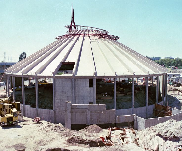 Space Mountain being constructed at Walt Disney World, first of all the track was constructed, then the building around it