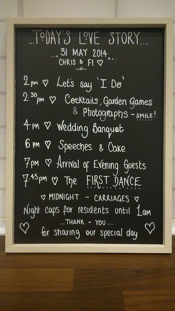 Personalised wedding chalkboard sign - order of service - shabby chic, vintage style blackboard  decoration