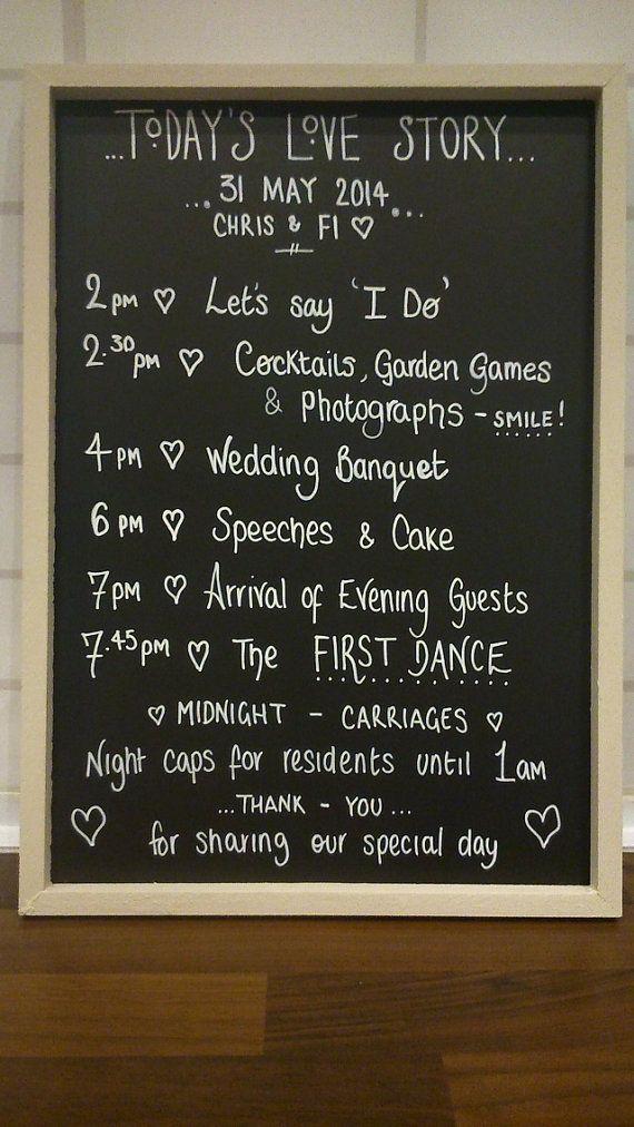 Personalised wedding chalkboard sign - order of service - shabby chic, vintage style blackboard  decoration