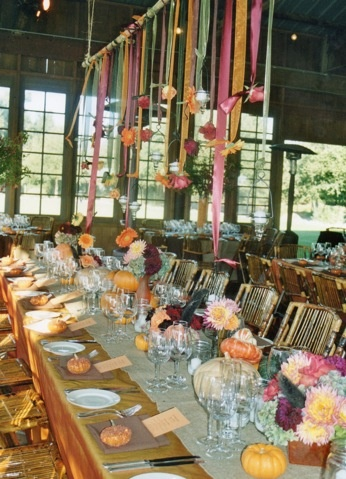 hanging flowers wedding table idea