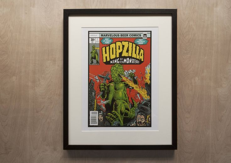 Hopzilla - King of Beer Monsters A3 limited edition of 10, signed, numbered digital print on smooth white matte 300gsm heavyweight art paper. Dimensions: 42 cm x 29.7cm  Client: Maison Du Biere  This illustration is a homage to my love of hoppy beer and retro comics - it is based on the very first Godzilla comic by Marvel, with an added beer related twist.  Ships from the artists studio, Barnsley, South Yorkshire, England. Ships worldwide.  Please note: Frame is not included with purchase…