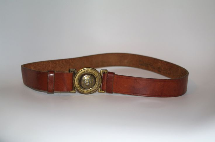 Vintage Soviet Era Polish Leather Scout Belt with Metal Buckle, Military belt, 80s Army belt, army green men's belt women's belt brown belt by VintagePolkaShop on Etsy