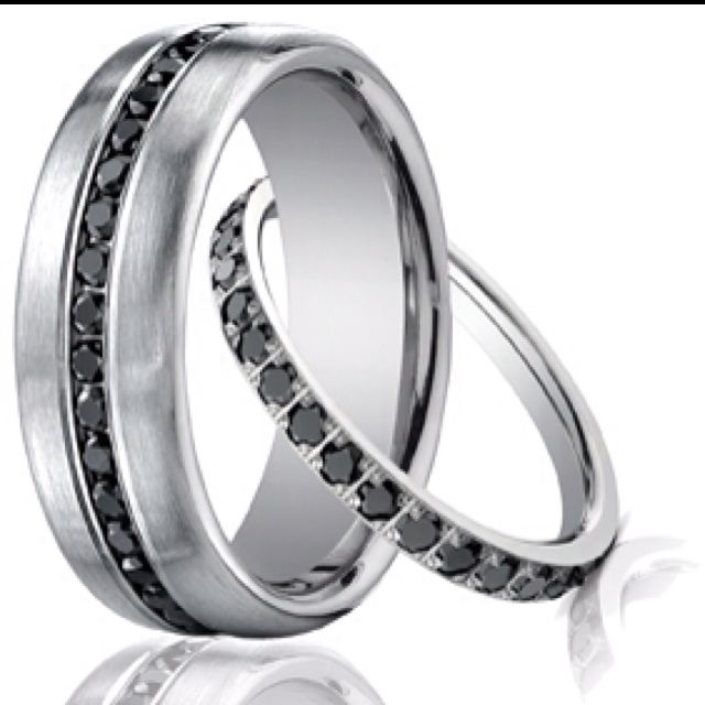 Matching wedding band set! Love the black diamonds <3