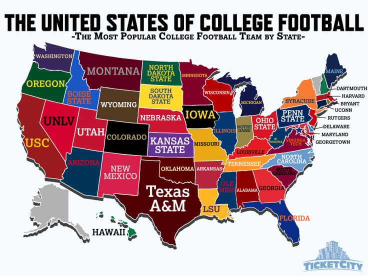 This Is A Map Of The United States It Shows Each States Favorite College Football Team