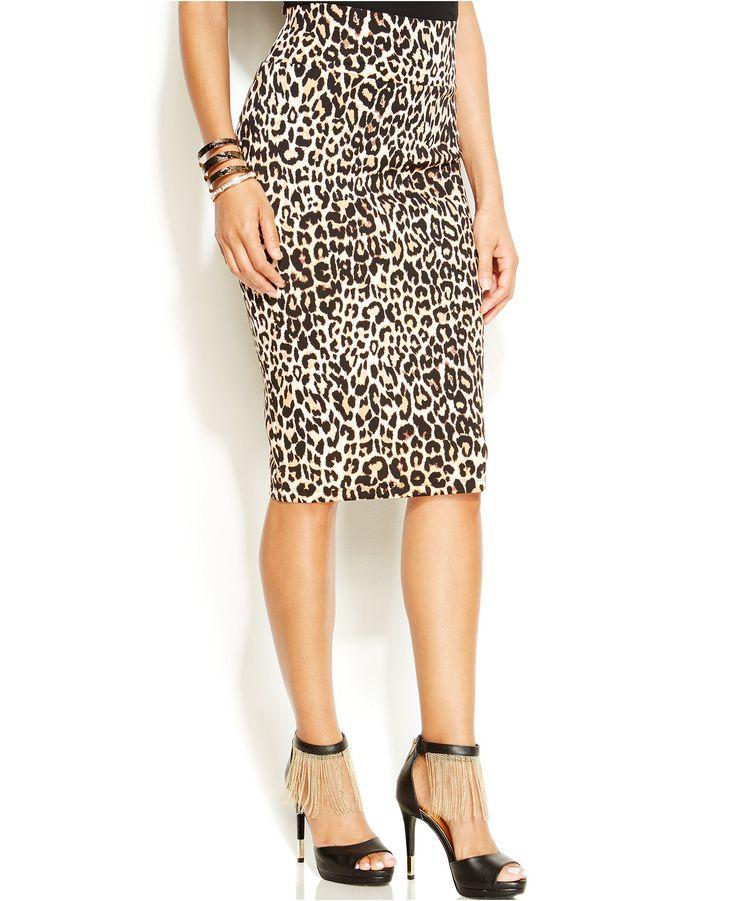 Thalia Sodi Leopard-Print Pencil Skirt - Skirts - Women - Macy's