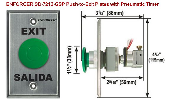 SECO-LARM SD-7213-GSP Request-to-Exit Plates with Pneumatic Timer