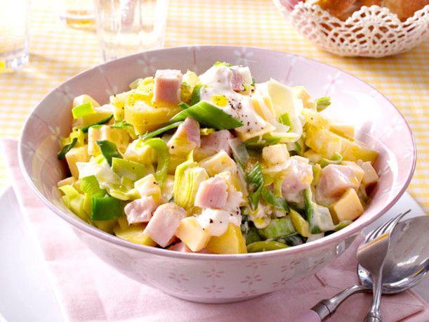 Lauch-Käse-Salat mit Pute und Feigensenfschmand