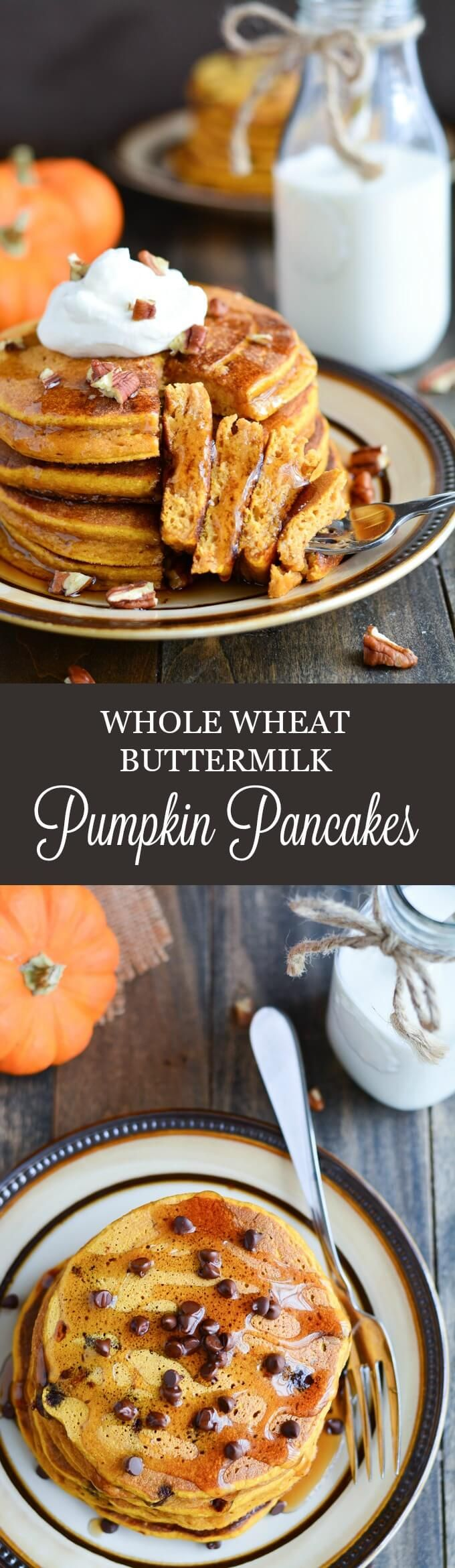 Whole Wheat Buttermilk Pumpkin Pancakes are thick, fluffy, and healthy. They're the perfect breakfast for a cool fall morning.