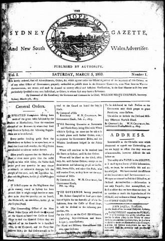"""Today in Australian History On 5 March 1803, publication commenced of """"The Sydney Gazette and New South Wales Advertiser"""". Initially it was printed weekly, and held four portfolio pages of official material, with a small number of private notices. For more click on photo"""