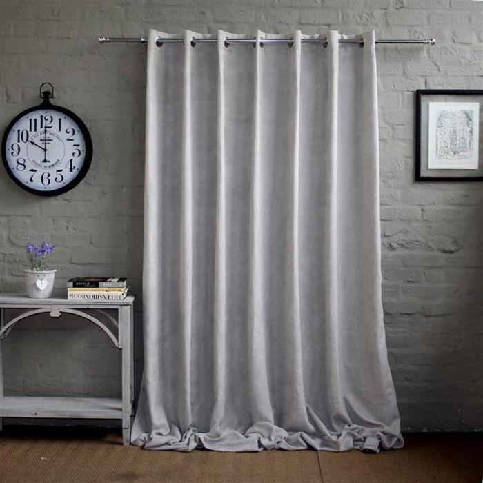 Velvet sheen - light grey curtain - Wide Width