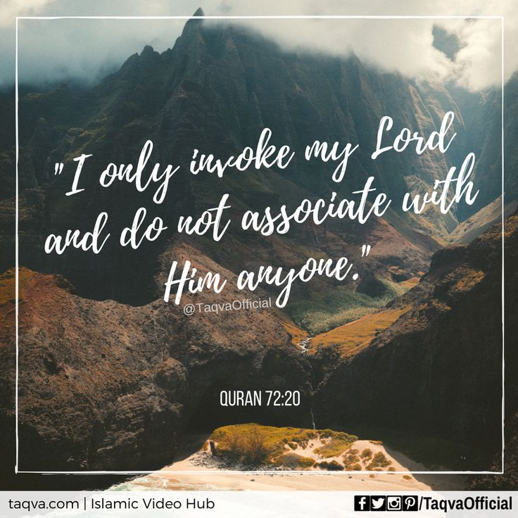 "Say, ""I only #invoke my #Lord and do not associate with Him anyone."" #Quran 72:20 _______________________________ #islam #islamicquotes #quranicquotes #quoteoftheday #ayahoftheday #islamicreminder #beingmuslim #muslim #faith #belief #iman #tawheed #monotheism #religion #God #Allah #oneGod #dua #pray #prayer #shahada #testimonyoffaith #shirk #biddah #moslem #moslems #taqva"