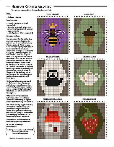Hexipuff Charts: Assorted patterns by Jennifer Fabian - duplicate stitching to enhance your knitting projects