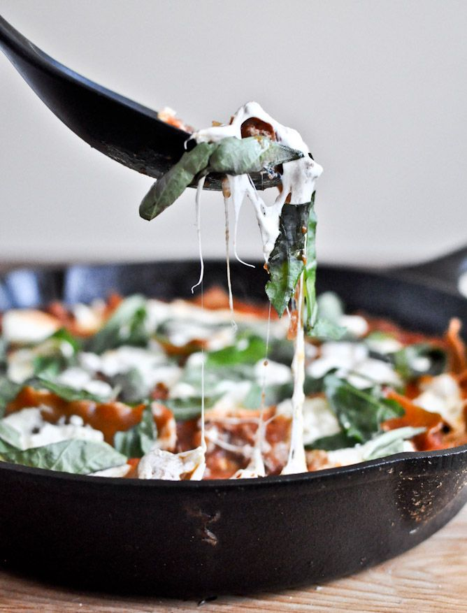 Weeknight dinner idea: a skillet lasagna that's ready in just about half an hour.