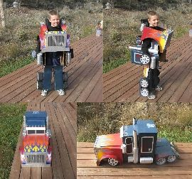Amazing Transformers Costume. Cash would LOVE this, considering he has been a