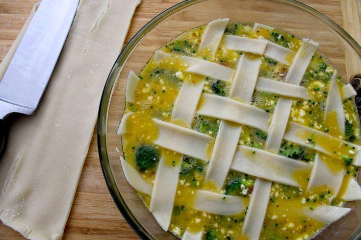Fritatta pie, eggs, broccoli, feta, sun dried tomatoes