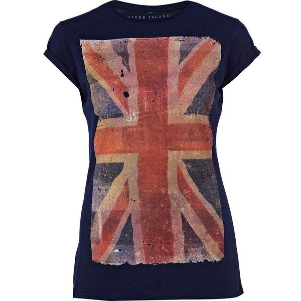 River Island Navy Union Jack Print T-Shirt (€17) ❤ liked on Polyvore featuring tops, t-shirts, shirts, navy blue shirt, union jack shirts, print t shirts, short-sleeve shirt and union jack t shirt