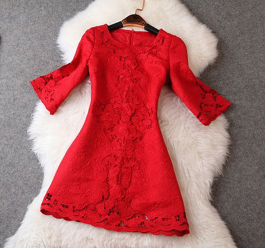 Embroidered Crochet Short Dress in Red
