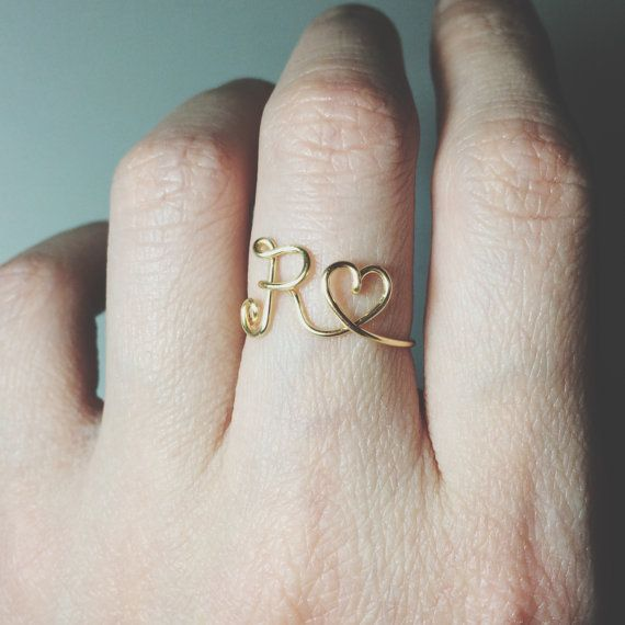 Gold silver initial heart ring/letter by BeadsLearnToRock on Etsy