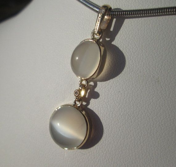 14kt Gold Double Moonstone Pendant Grey by GemstoneFineJewels