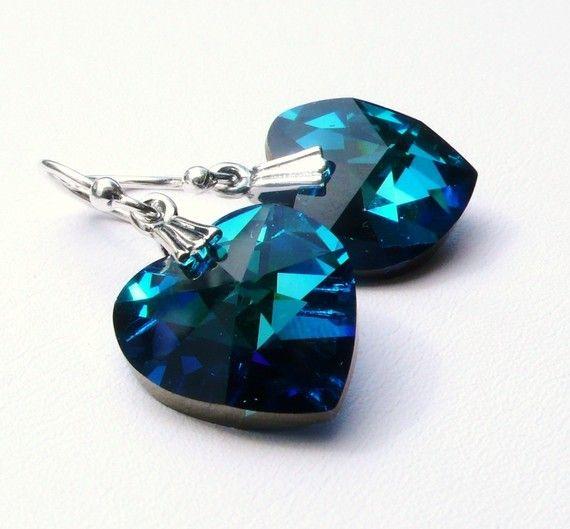 BERMUDA BLUE Crystal Heart Earrings, Swarovski Blue Heart Earrings Sterling Silver. $24.00, via Etsy.