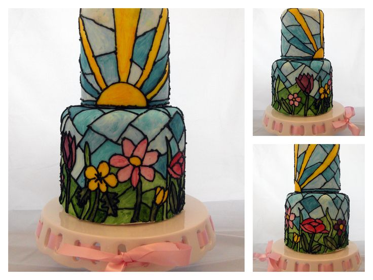 Stained glass effect cake by Fondant Fantastic