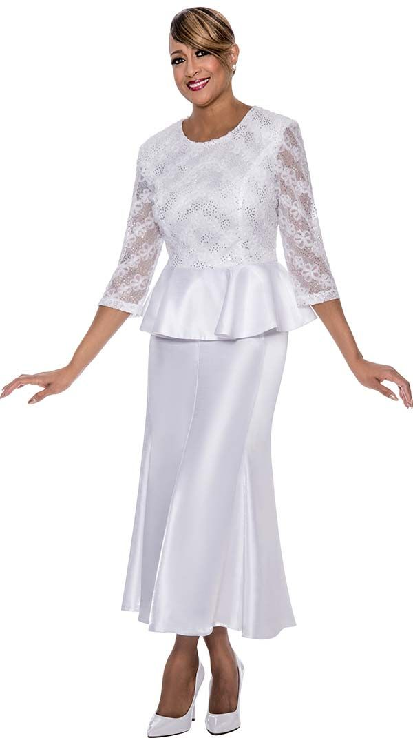 DCC - DCC492-White - Pleated Skirt Suit With Peplum Jacket