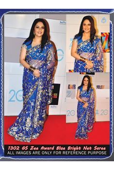 Gracy Singh Blue Net Bollywood Replica Saree