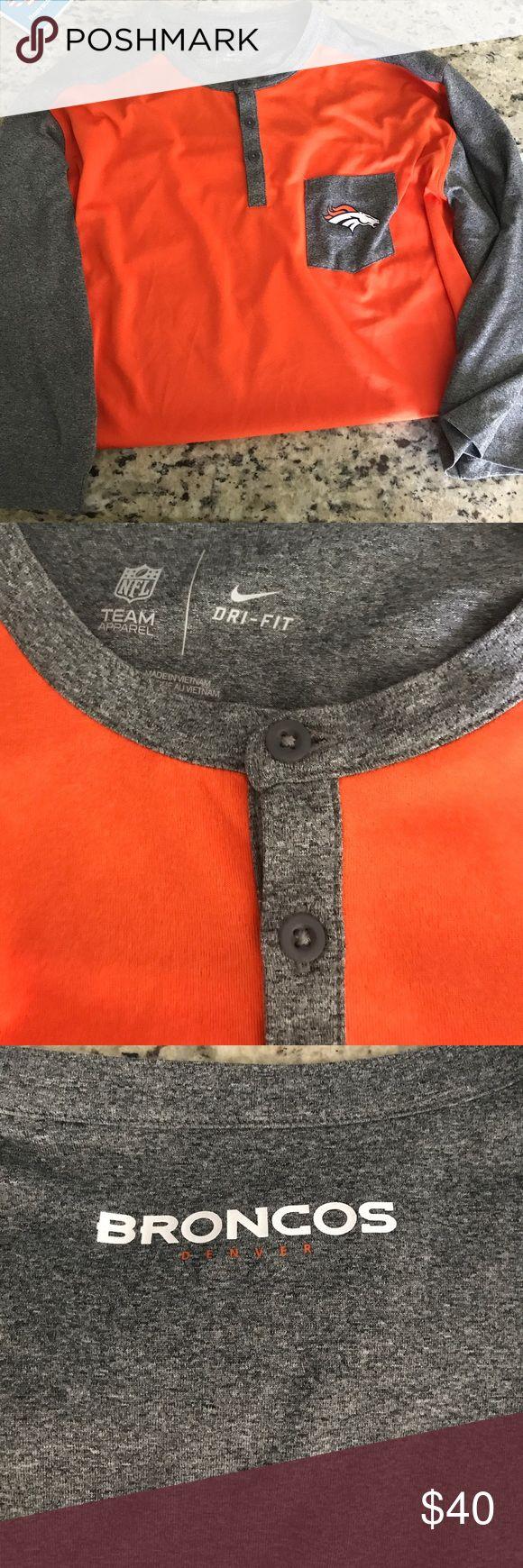 Nike Denver broncos shirt Brand new! Never worn. 3/4 sleeve. Paid $60 for the shirt. Smoke free home. Nike Shirts Tees - Long Sleeve