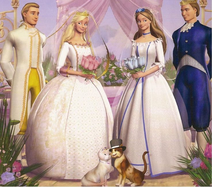 Julian, Princess Annaliese, Erika, and King Dominick, with cats Serafina and Wolfie in Barbie Princess and the Pauper.