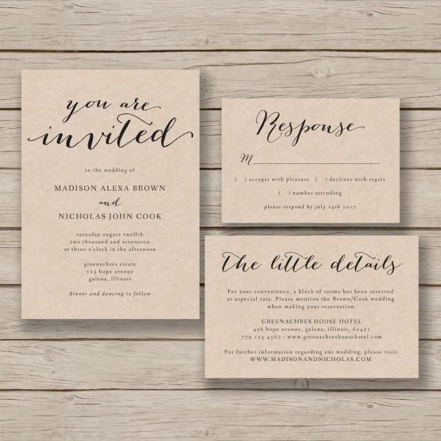This printable wedding invitation template is available for instant download as a .docx file for you to edit with your own details in MS Word. Invitation, RSVP and Details cards are included. The first two listing images show the templates printed on kraft card for a rustic look. ***The background of the design is transparent - print on kraft for a kraft background, print on white for a white background etc.***HOW IT WORKS:-Purchase your files and download instantly -Install suggested free.....