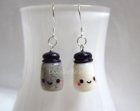 Salt and Pepper Shakers Kawaii Cute Polymer Clay Charm Earrings