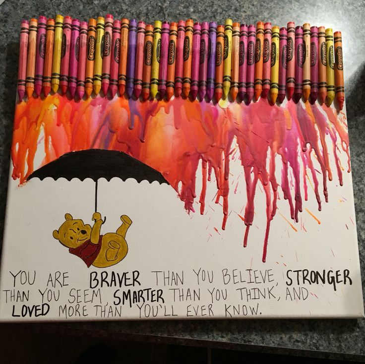 Winnie the Pooh melted crayon art with quote and Pooh under an umbrella