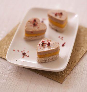 Toasts coeur foie gras mangue pour la Saint-Valentin - Recettes de cuisine Ôdélices