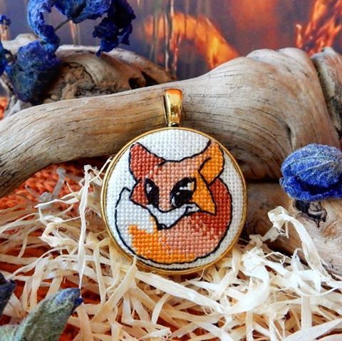 Pendant Red Fox with miniature crossstitch handmade от Microstitch