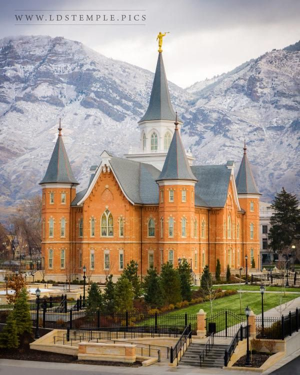 The first snow of the season on the mountains behind the new Provo City Center Utah Temple.