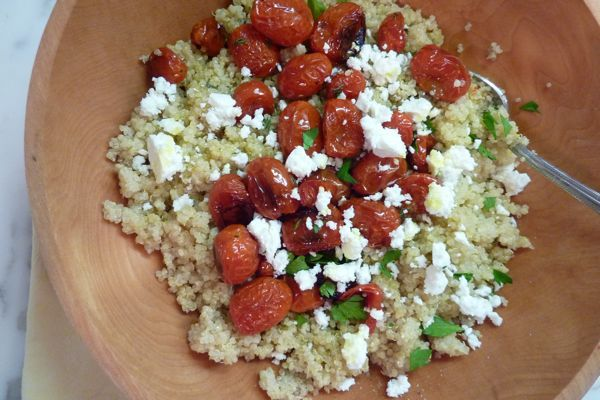Quinoa Salad with Roasted Tomatoes and Feta.  Have to get my husband on-board with the Quinoa thing.