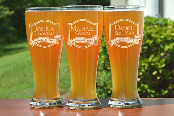 Groomsmen Gift 5 Personalized Beer Glasses by UrbanFarmhouseTampa