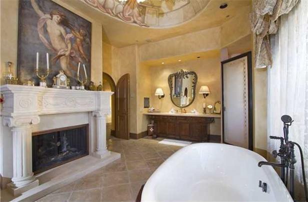 Master bathroom old world style rancho santa fe home for Santa fe style bathroom ideas