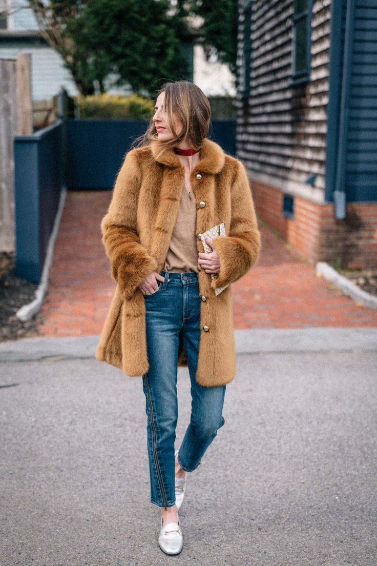 Jess Ann Kirby designs the perfect faux fur coat with Frilly and styles it with Hoxton Jeans and metallic loafers