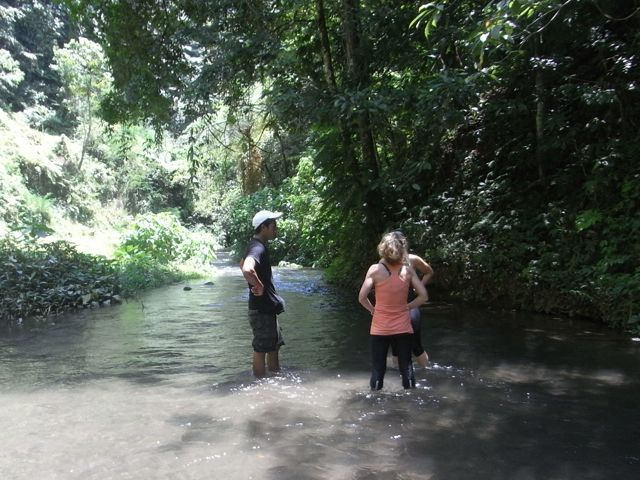 """My favourite place for a mini Sharing Bali """"staff meeting'…. deep in a ravine in a cool river whilst we wait for our guests to shoot down the river on their canyon tubing outing. http://www.workingfromanywhere.com.au"""