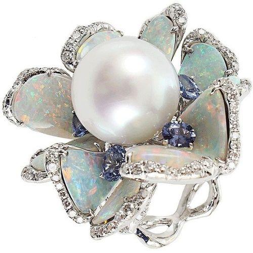 Arunashi Pearl Opal Sapphire Diamond Flower Ring - via: zanzaire - Imgend