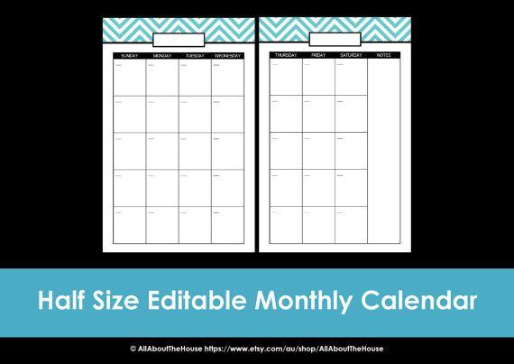 Half Page Monthly Calendar : Printable calendar page month us letter half