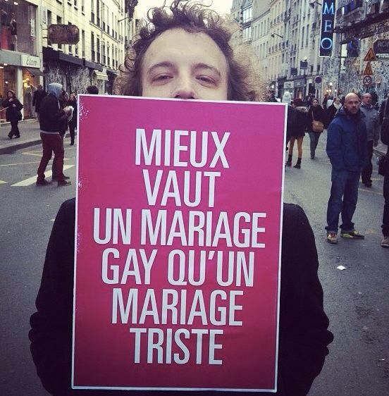 It is better to have a gay marriage that a sad marriage.  In french : gai = happy