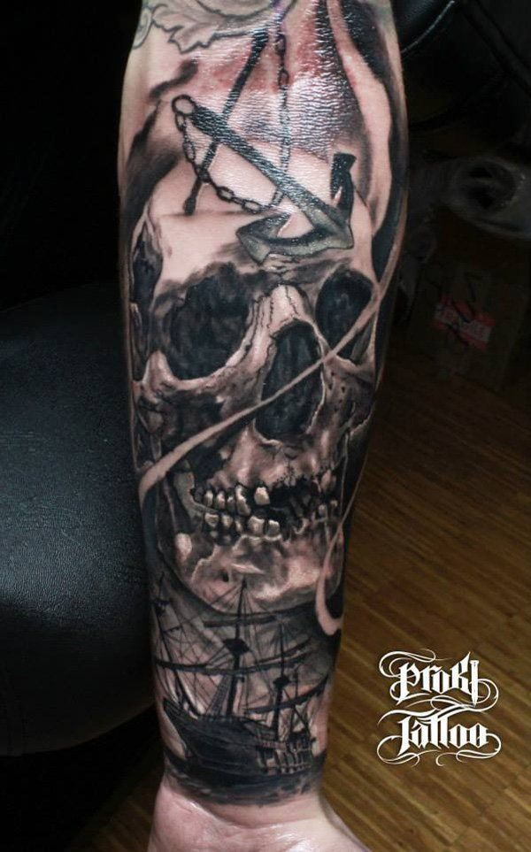 Skull with boat tattoo - 100 Awesome Skull Tattoo Designs
