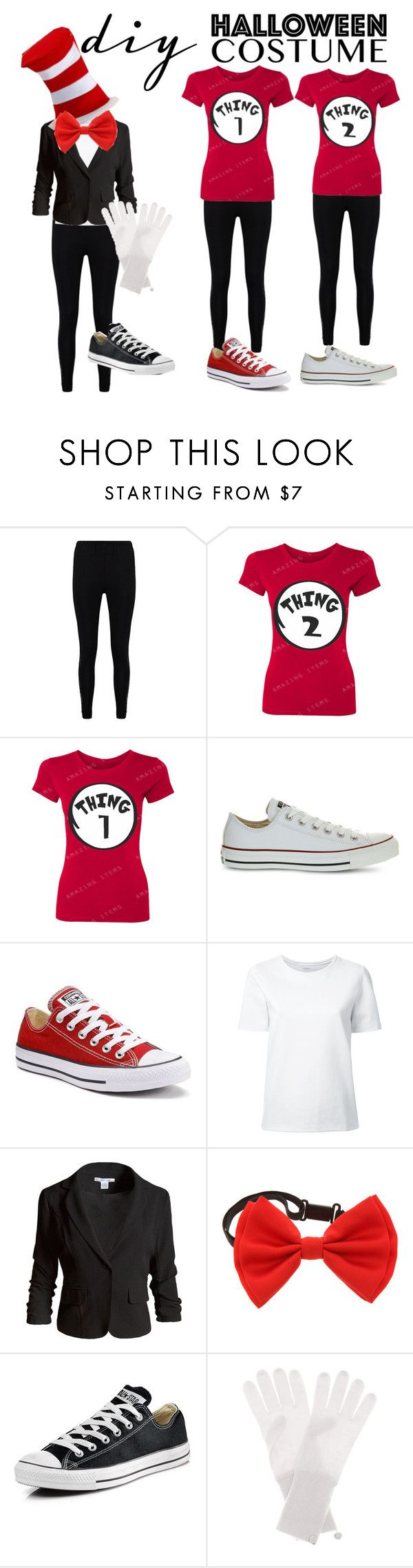 """Bff trio"" by aforehand ❤ liked on Polyvore featuring Boohoo, Converse, Lemaire, Sans Souci, Jardin des Orangers, halloweencostume and DIYHalloween"